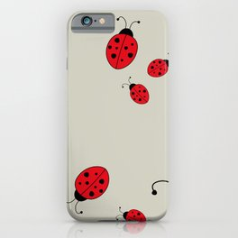 Ladybugs-Beige+Red iPhone Case