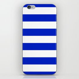 Cobalt Blue and White Wide Cabana Tent Stripe iPhone Skin