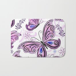 Colorful Butterflies and Flowers V12 Bath Mat