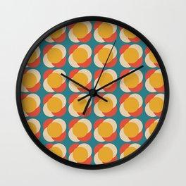 Minimalist Mid Century Retro Circles Blue Pattern Wall Clock