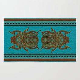 Egyptian Scarab Beetle - Leather & Gold on teal Rug
