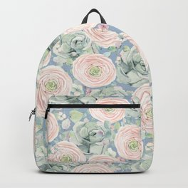 Flowers And Succulents Light Blue Backpack