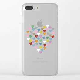 Distressed Hearts Heart Navy Clear iPhone Case