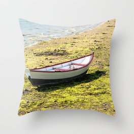 Boat stranded at low tide Throw Pillow