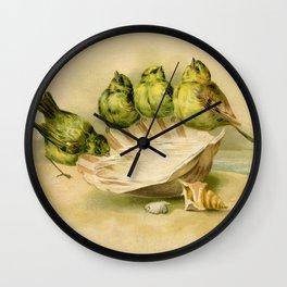 Vintage Yellow Birds on Seashell Wall Clock
