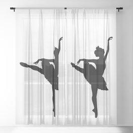 Ballerina silhouette (black) Sheer Curtain