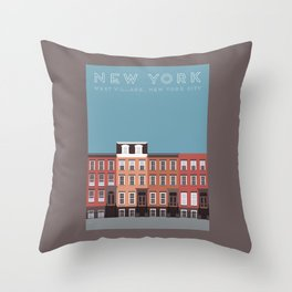 New York City, NYC, West Village Travel Poster Throw Pillow