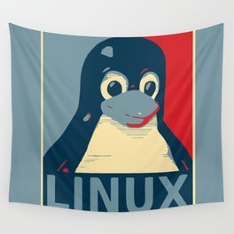 Linux tux Penguin poster head red blue  Wall Tapestry