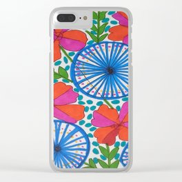 Flowers and Pinwheels Jungle Print Clear iPhone Case