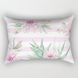 Rose Stripe Succulents - Pink and Mint Green Cactus Pattern Rectangular Pillow