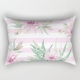 Rose Stripe Succulents - Pink and Mint Green Cactus Pattern Rectangular Pillow