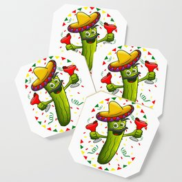 Sombrero Pickle Margarita Cinco De Mayo Men Women print Coaster