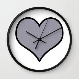 Pantone Lilac Gray Heart Shape with Black Border Digital Illustration, Minimal Art Wall Clock