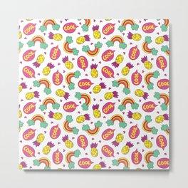 Modern colorful pineapple rainbow cool typography Metal Print