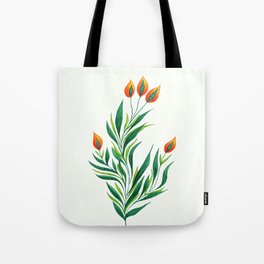 Abstract Green Plant With Orange Buds Tote Bag