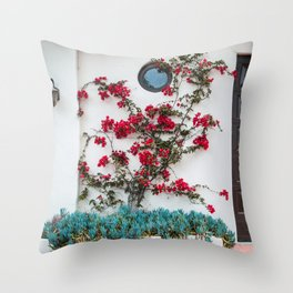 Floral Climbers | Front Door Red Flowers Street Photography in California Throw Pillow