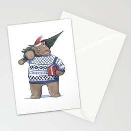 Bear with new year tree Stationery Cards