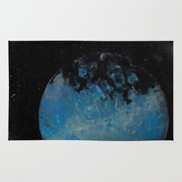 Planets with Space Station - Spray Paint Art Rug