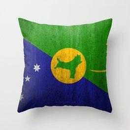 Flag of Christmas Island 4k stone background grunge flag Asia Christmas Island flag grunge art natio Throw Pillow