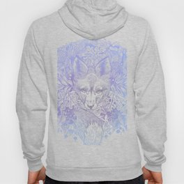 Pastel Purple Hiding Fox Drawing Hoody