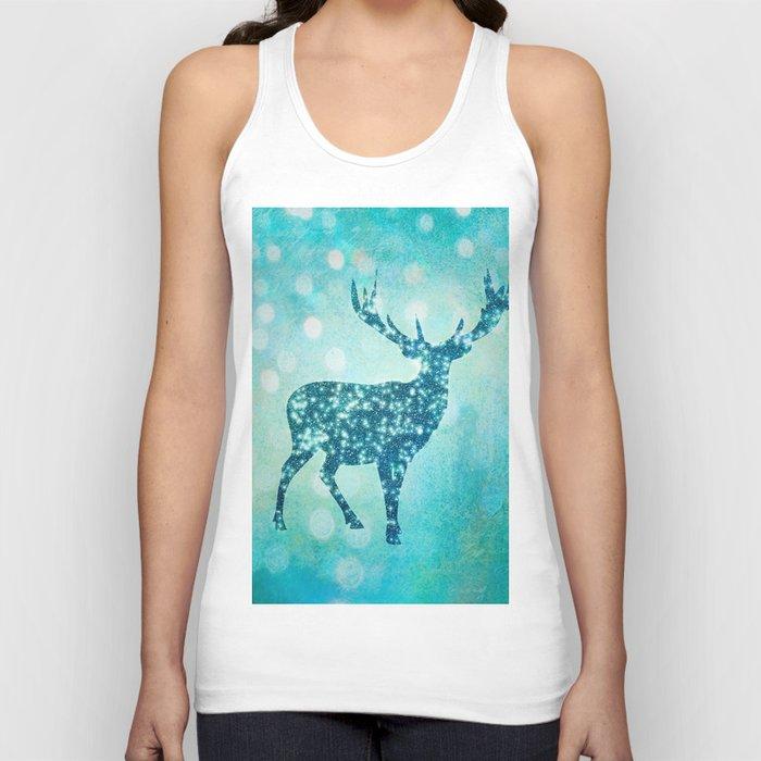Aqua Turquoise Animal with Glitter Effect -Blue deer Unisex Tank Top