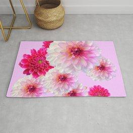 FUCHSIA CERISE-WHITE DAHLIA FLOWERS GARDEN ART Rug
