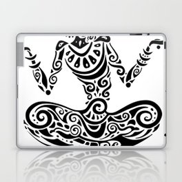 Tara. Yoga, Meditation lotus pose. Hand Drawn Illustration. Polynesian style tattoo. Laptop & iPad Skin