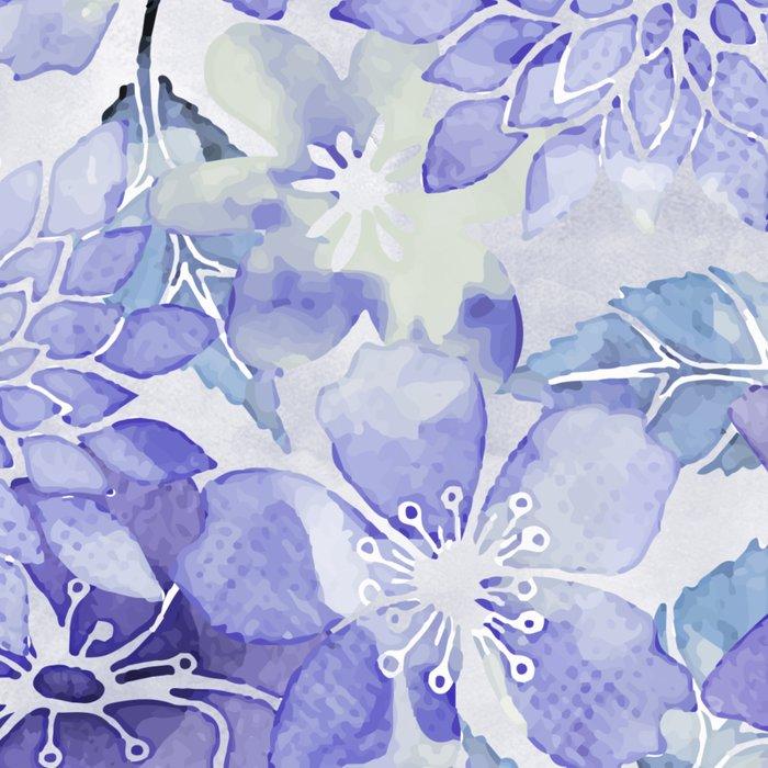 Purple Flower watercolor allover pattern Leggings