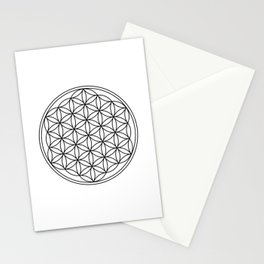 Flower of life in black, sacred geometry Stationery Cards