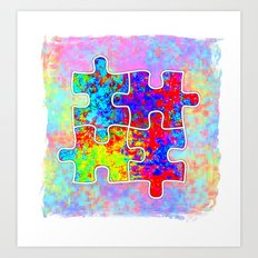 Autism Colorful Puzzle Pieces Art Print