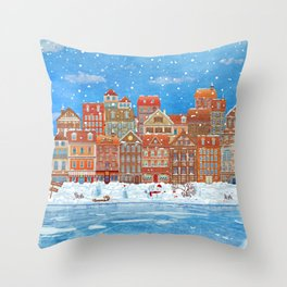 Merry  Christmas and New Year holidays card with  fairy town and  frozen river  in winter Throw Pillow