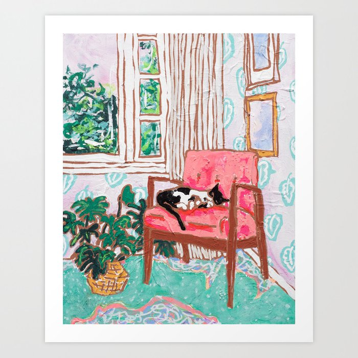 Little Naps - Tuxedo Cat Napping in a Pink Mid-Century Chair by the Window Kunstdrucke