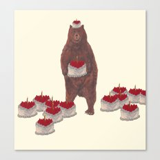 he baked so many  strawberry cakes. Canvas Print