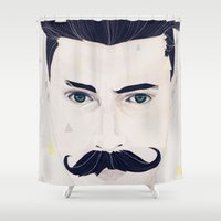 mustache Shower Curtains featuring Mustache by JOEUN