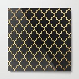 Black Gold Quattrefoil Metal Print