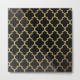 Black Gold Quattrefoil Metal Print
