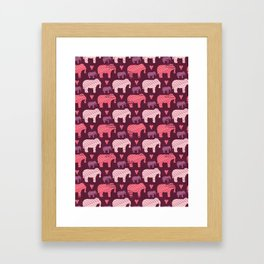 Purple and Pink Kids Baby Elephants Silhouette Framed Art Print