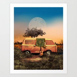 summer sunset landscape with skull and guitar Art Print