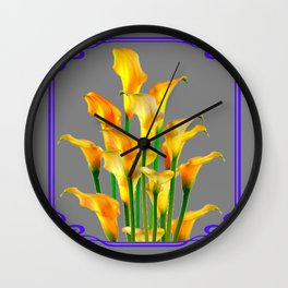 PURPLE-GREY ART NOUVEAU GOLDEN CALLA LILIES Wall Clock