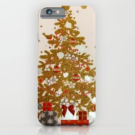 Cozy Christmas Gold Glittered Tree Presents iPhone Case