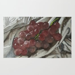 Oil paint on canvas still life painting of grapes on fabric cloth drape contrast fruit  Rug