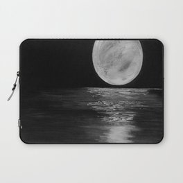 Full Moon, Moonlight Water, Moon at Night Painting by Jodi Tomer. Black and White Laptop Sleeve