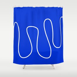 Blue Abstract Wave Shower Curtain