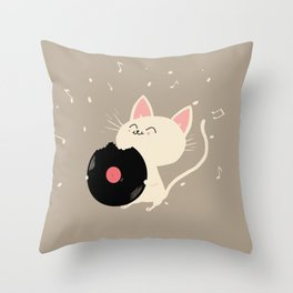 I can't get nooo catisfaction Throw Pillow
