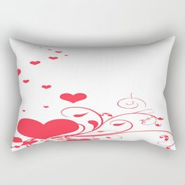 Red Valentine Hearts on A White Background Rectangular Pillow