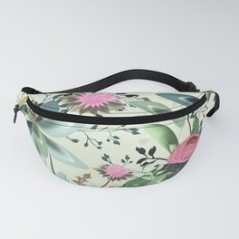 Fashion textile floral vector pattern with clover and field flowers Fanny Pack