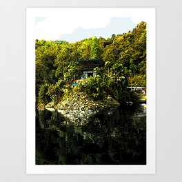 Pokhara Lake Boat House - Digital Illustration Art Print