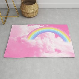 Cotton candy pink sky with rainbow Rug