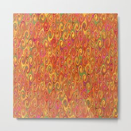 Citrus Swirls Abstract Metal Print