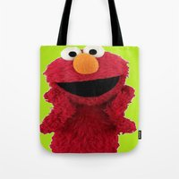 duvet cover Tote Bags featuring ELMO DUVET COVER by aztosaha